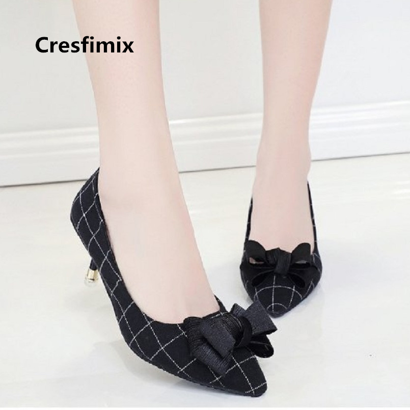 Cresfimix femmes sexy talons hauts women cute sweet black bow tie high heel shoes lady comfortable slip on high heel pumps a2990 cresfimix femmes hauts talons women fashion comfortable slip on pu leather high heel shoes lady cute sweet office shoes b2915