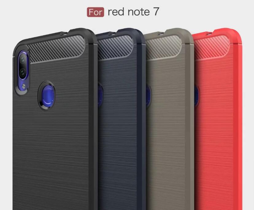 100pcs lot free shipping Carbon Fiber Silicone TPU Back Case For Xiaomi Redmi Note 7 Note