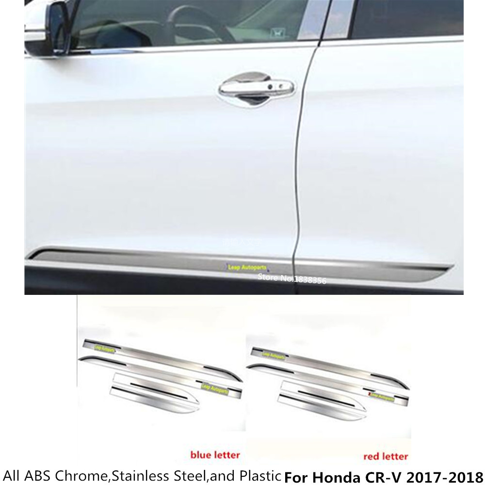 Free shipping Car ABS chrome Side Door trim Strip Molding Stream lamp panel bumper 4pcs/set part For Honda CRV CR-V 2017 2018 car stainless steel abs chrome side door body trim stick strip molding stream lamp panel bumper for toyota rav4 2016 2017 2018