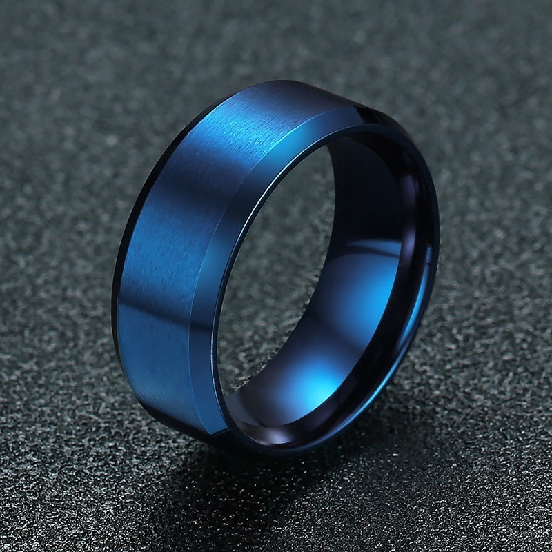 Five Color Wedding Rings For Men Stainless Steel Classic In Blue Silver Black Rose Gold Promised For Dad Boyfriend Accessories titanium ring