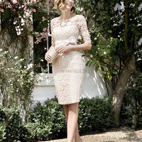 YNQNFS MD0204 Elegant Dress for Wedding Party Champagne Mother of the Bride Lace Dresses Wedding Guest Wear 2019