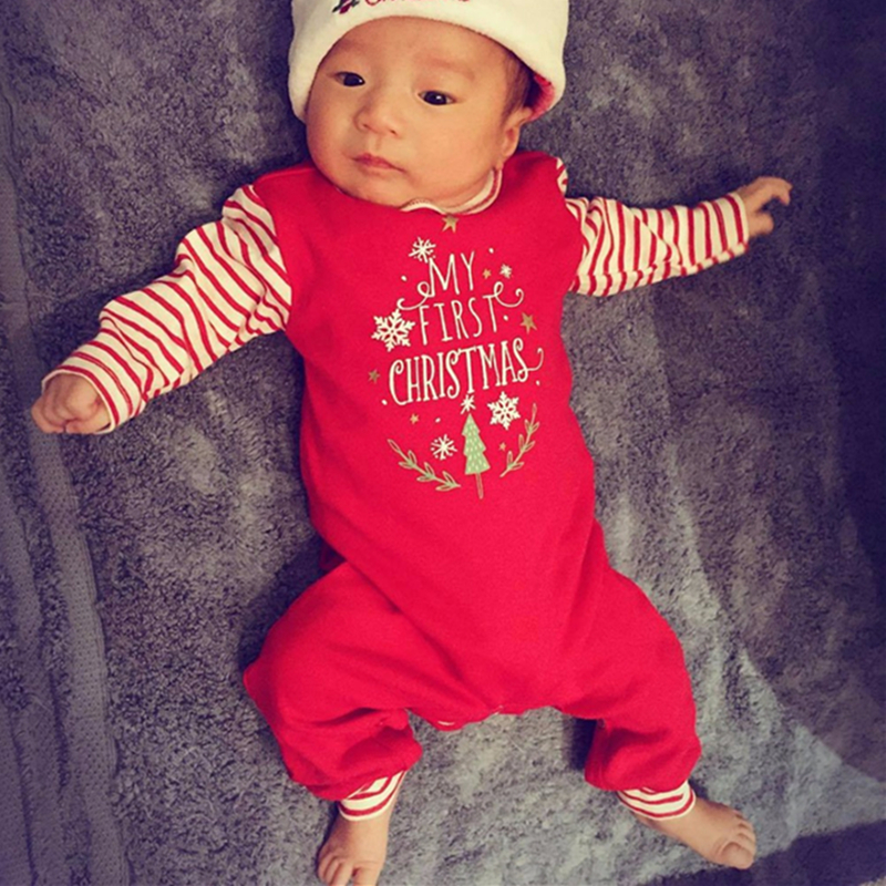 08b4eaa7b Christmas Baby Clothes My 1St Christmas Print Romper Long Sleeve Red White  Striped Baby Jumpsuits Fall Baby Clothes Baby Onesie-in Rompers from Mother  ...