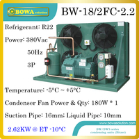 2300dollars buy 2HP high temperature air cooled condensing unit with Bitzer semi hermetic compressor suitable for water chilller