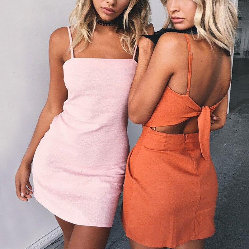 2018 новые модные женские туфли платья спагетти Strappy бантом сзади милое платье пикантные Клубные облегающее короткое платье; Mujer Robe Vestidos