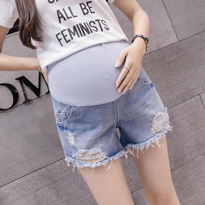 Envsoll jeansy ciążowe dla kobiet w ciąży w ciąży spodenki spodnie spodnie z wysokim stanem uszkodzony otwór legginsy odzież ciążowa