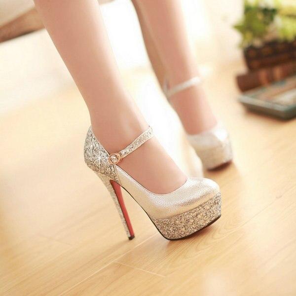 56909904c247d US $145.89  2014 New Sexy European American style Glitter Luxurious shine  gold silver 14cm high heels shoes Women Pumps women shoes-in Women's Pumps  ...