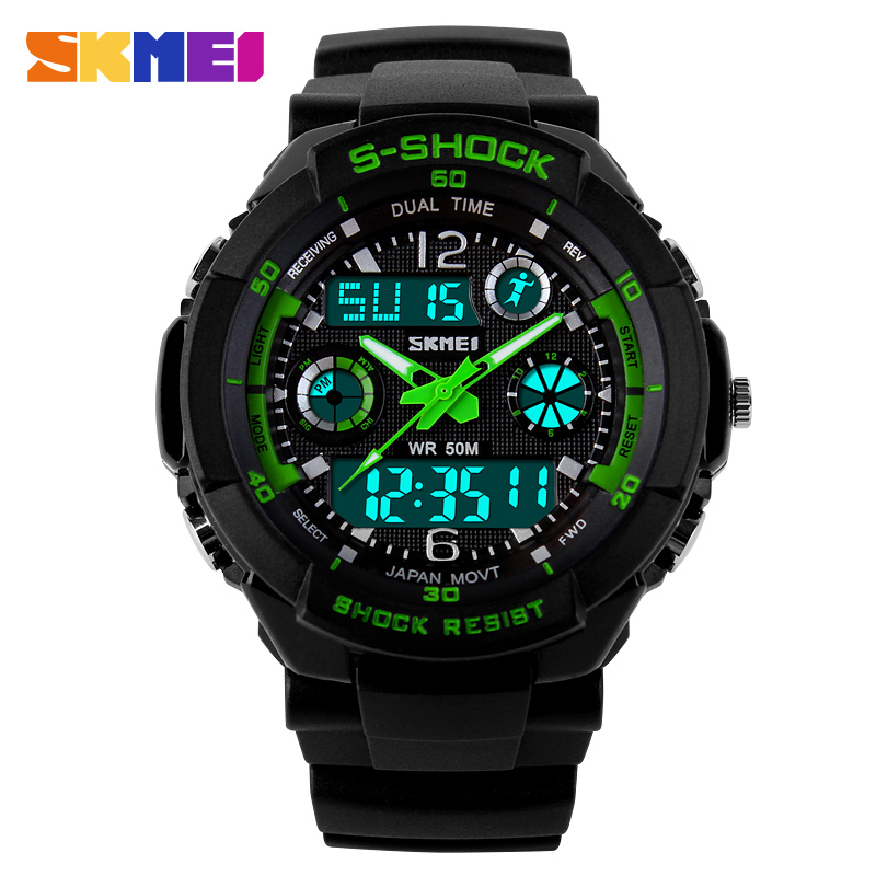 SKMEI Clock Children's Watches Kids Sport Watches Top Brand Double Time Chrono EL Light Water Resistant Wrist Watch Boys 1060