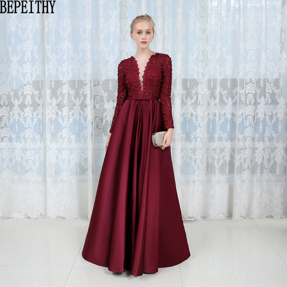17dae5b575b1 BEPEITH Robe De Soiree Appliques Lace Långärmad Prom Dress Bourgogne Satin  Aftonklänning 2018 Vestido De Fe.