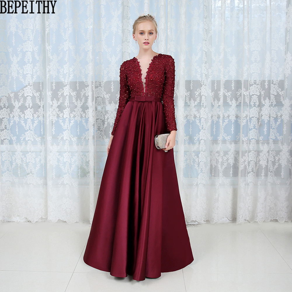 BEPEITHY Robe De Soiree Appliques Lace Long Sleeve Prom Dress Burgundy Satin Evening Dress 2019 Vestido De Festa Longo