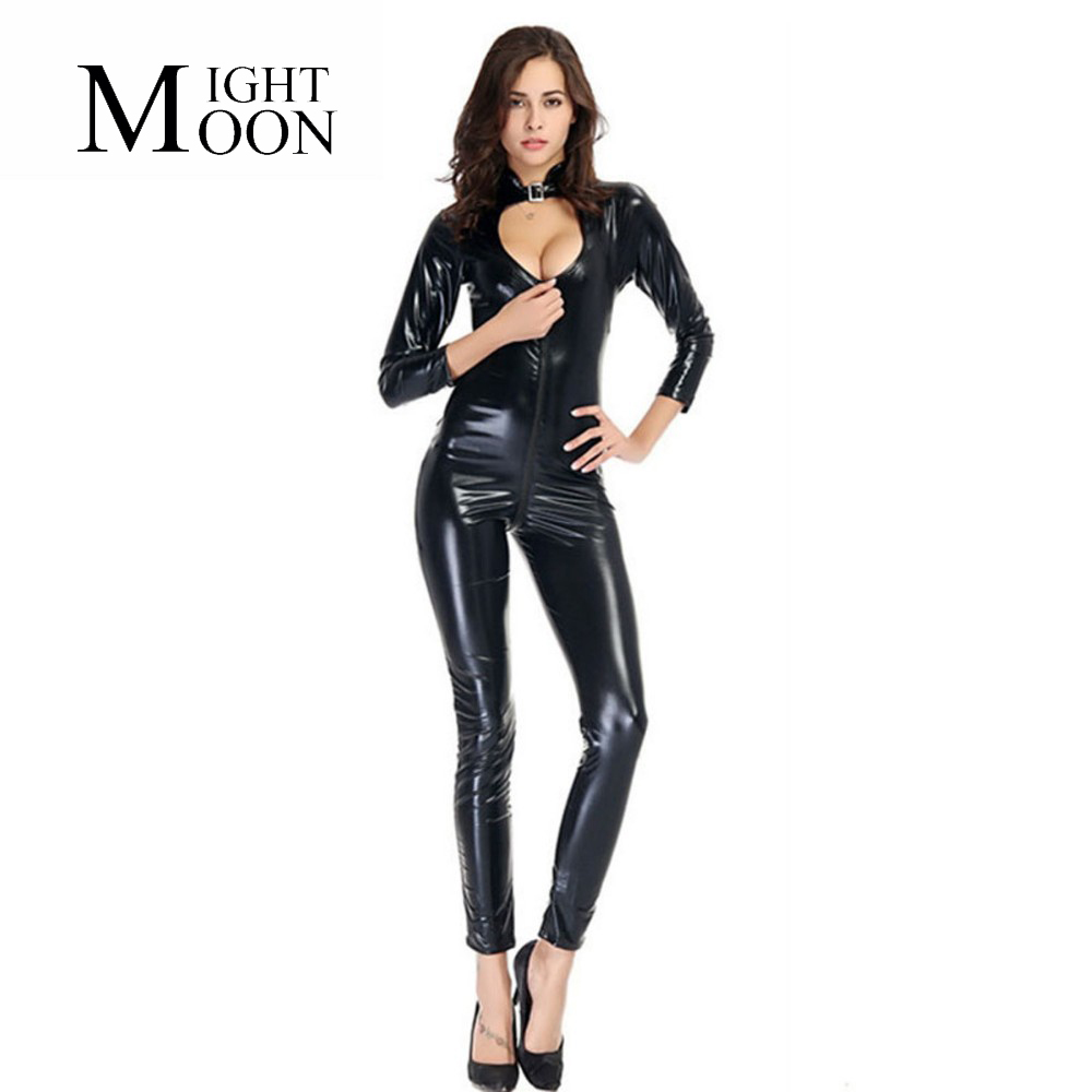 MOONIGHT 2019 Black Latex Wet Look Bodycon Catsuit Sexy Faux Leather Bodysuit Erotic PVC Jumpsuit Cosplay Clubwear Dance Costume