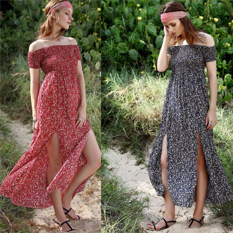 2020 Summer Boho Women Long Dress Sexy Split Slash Neck Off Shoulder Bohemian Maxi Long Dresses Vestidos De Festa Robe Femme