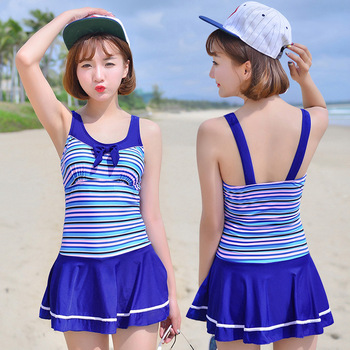 NIUMO NEW Swimwear Woman Small Chest One-piece Swimsuit Skirt Style Flat Angle Student Girl Hot Spring Swimsuit Beach Sports ชุด ทู พีช ว่า ย น้ํา