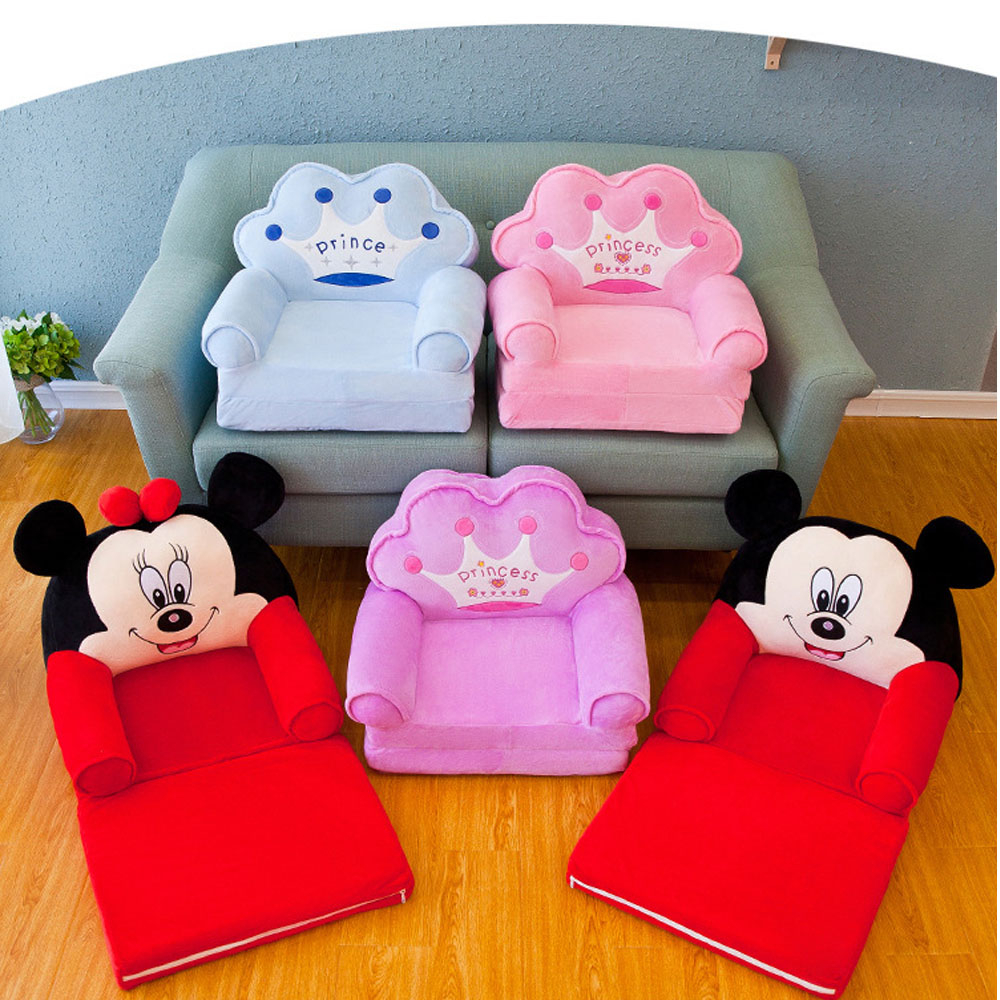 Foldable Children's Small Sofa Cartoon Seat Girl Boy Princess Baby Sofas Chair Lazy Tatami Single Child Cushion With Filling