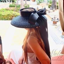 Chapeau de soleil élégant, UPF50 +, casquette en paille tressée à large bord, avec Long ruban, pour les voyageurs