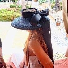 Zarif UPF50 + disket güneş şapka kadınlar için geniş ağız örgü hasır kap yaz plaj şapka ile uzun şerit yay travelDerby güneş şapka kap