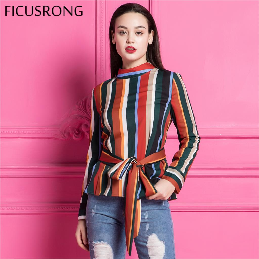 FICUSRONG 2018 new women vintage bow tie color striped shirt stand collar zipper long sleeve blouse autumn casual tops blusas