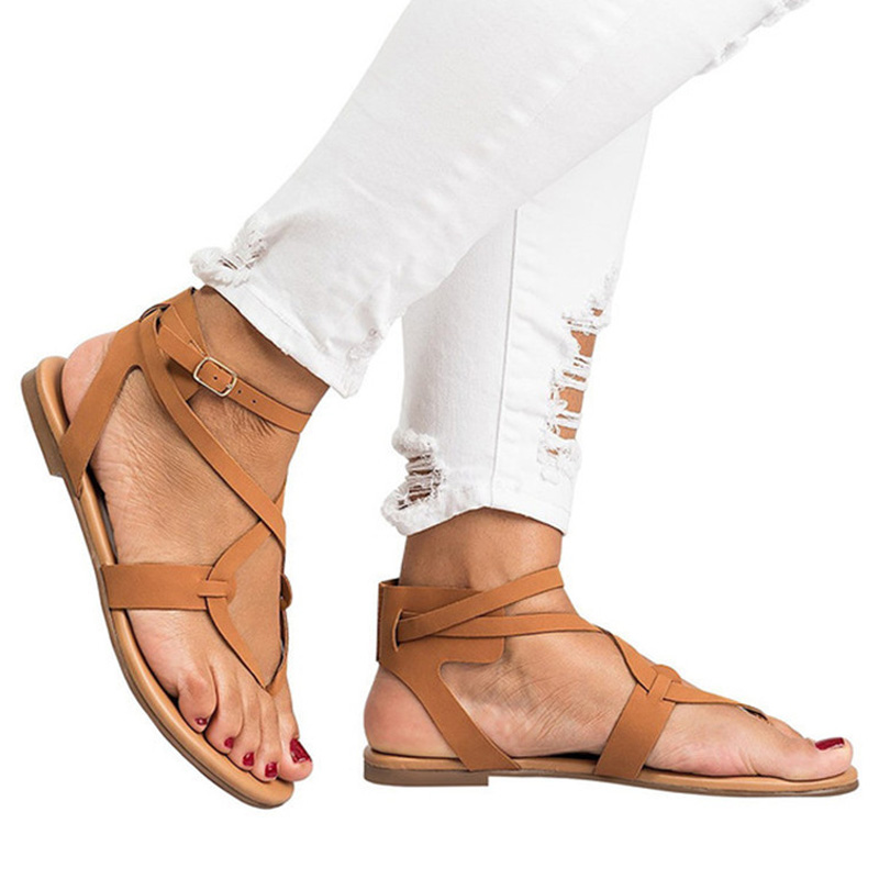 New Hot Women Sandals Gladiator Summer Shoe Female Casual Flat Heel Ankle Strap For Women Rome Style Beach Shoes Plus Size 42 43 girl shoes in sri lanka