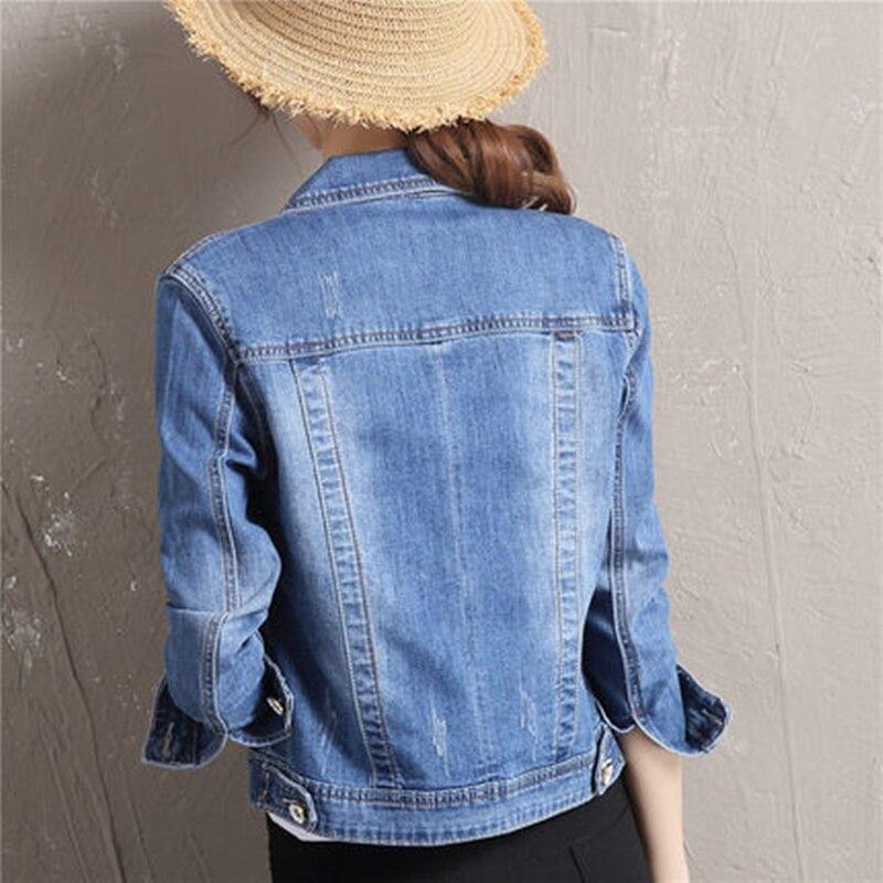 Femelle Fh13 Courts Blue En Automne Mode Jean Coupés Femmes Veste Printemps Slim Denim Chaquetas Manteau Jeans Mujerv 2018 Nouveau Solid mNO0P8nyvw