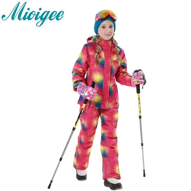 Mioigee 2017 Childrens set sport wear winter warm Thicken Ski Suit Waterproof and waterproof girls sports suit kids ski clothes