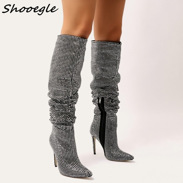 SHOOEGLE 2018 New Style Celebrity Style Knee High Boots for Women Shinning Crystal  Boots High Heel Booties Botas Mujer DHL free 151b68c52f1a