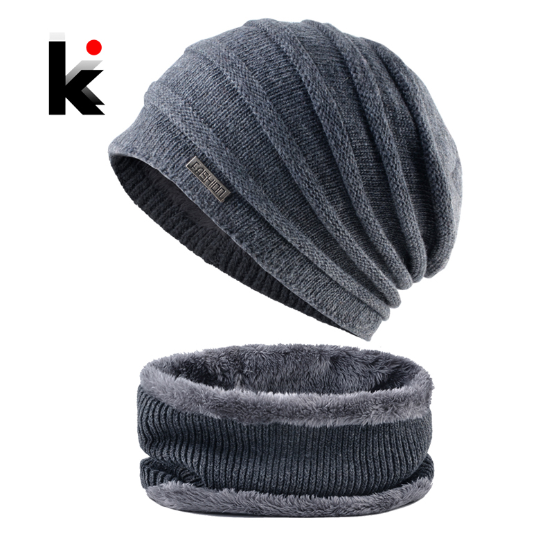 Winter   Beanies   Men Knitted Hats Scarf Set Warm Knitting Fashion Striped Caps Male Gorras Bonnet Thick   SKullies     Beanies   Scarves