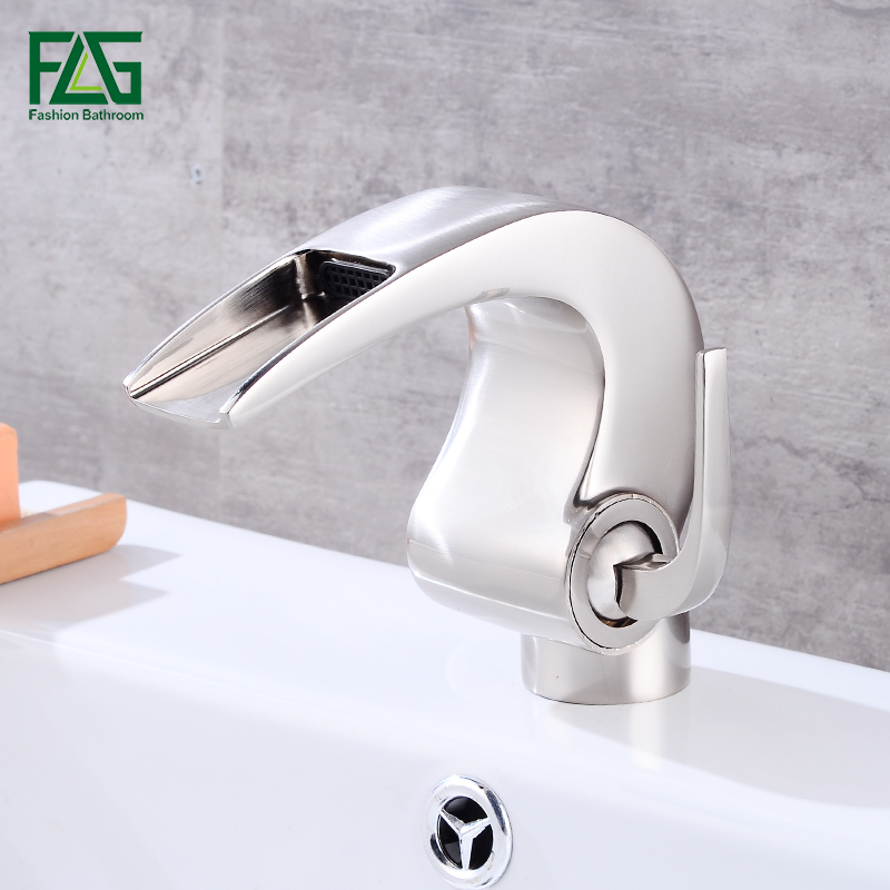 FLG Nickel Brushed Waterfall Bathroom Faucet Brass Vanity Sink Faucet Deck Mounted Cold and Hot Basin Faucets Mixer Taps 514-11 brushed nickel waterfall bathroom sink basin mixer faucet widespread dual handles hot cold taps