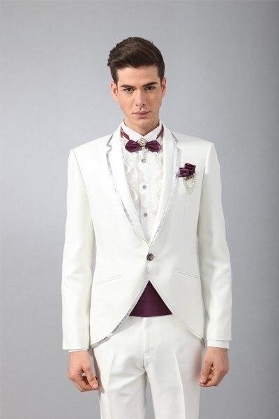 Trim Slim Weiß Terno Formale hose Neuesten Fit 2 C Designs Maß Smoking Stücke Hochzeitsanzug Bräutigam Mantel Für Männer PagqI