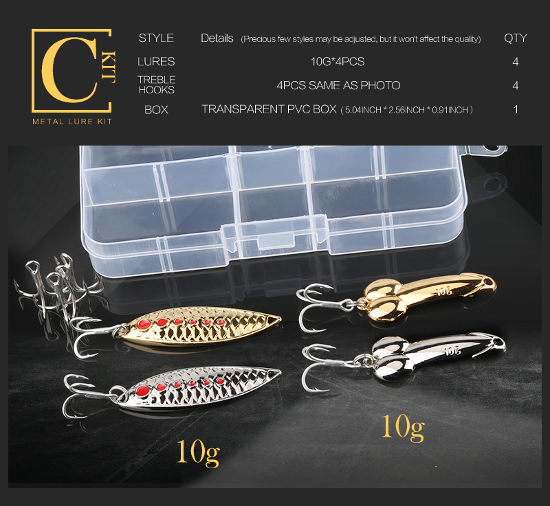 Metal Spoon Fishing Lure Kit Set Gold Silver Baits Sequins Spinner Lures with Box Treble Hooks Fishing Tackle Gear Hard Bait