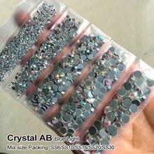 Новая упаковка, смешанный размер, стразы, кристалл AB 1200 шт./лот, стразы для горячей фиксации, для изготовления сумок, одежды, обуви
