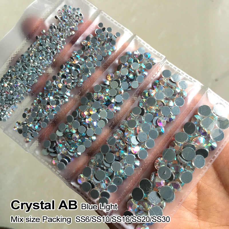 New Packing Mix size Rhinestone Crystal AB 1200pcs/lot Hotfix Rhinestones use for DIY Bags Garment Shoes free shipping
