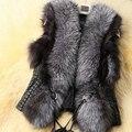 Precio bajo 2015 de Invierno Nuevo Diseño de Cuero de Imitación Chaleco de Piel gilet outwear capa de las mujeres