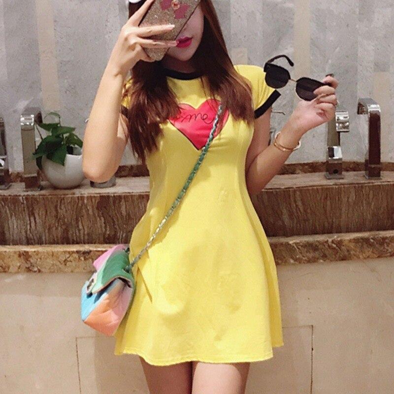 Fashion Heart Print Short Sleeve Summer Dress Sweet Women O Neck Dress Casual Sexy Mini Dress Black White Vestidos Female 2019 in Dresses from Women 39 s Clothing