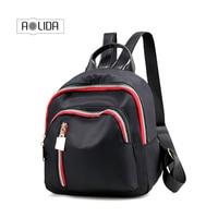 Fabra Small Waterproof Nylon Women Backpack Fashion Black Shoulder Back Bag Preppy Style Backpacks For Teenage