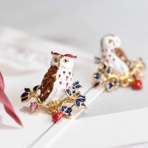 France Enamel Glaze Violet Owl Asymmetry Earring 925 Silver Needle Prevent Allergy Woman Jewelry Free Shipping
