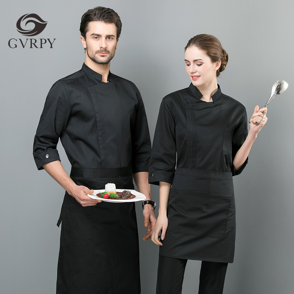 2019 New Listing Summer Unisex Seven-point Sleeve Chef Jacket Overalls Restaurant Kitchen Hotel Professional Chef Coat Uniform