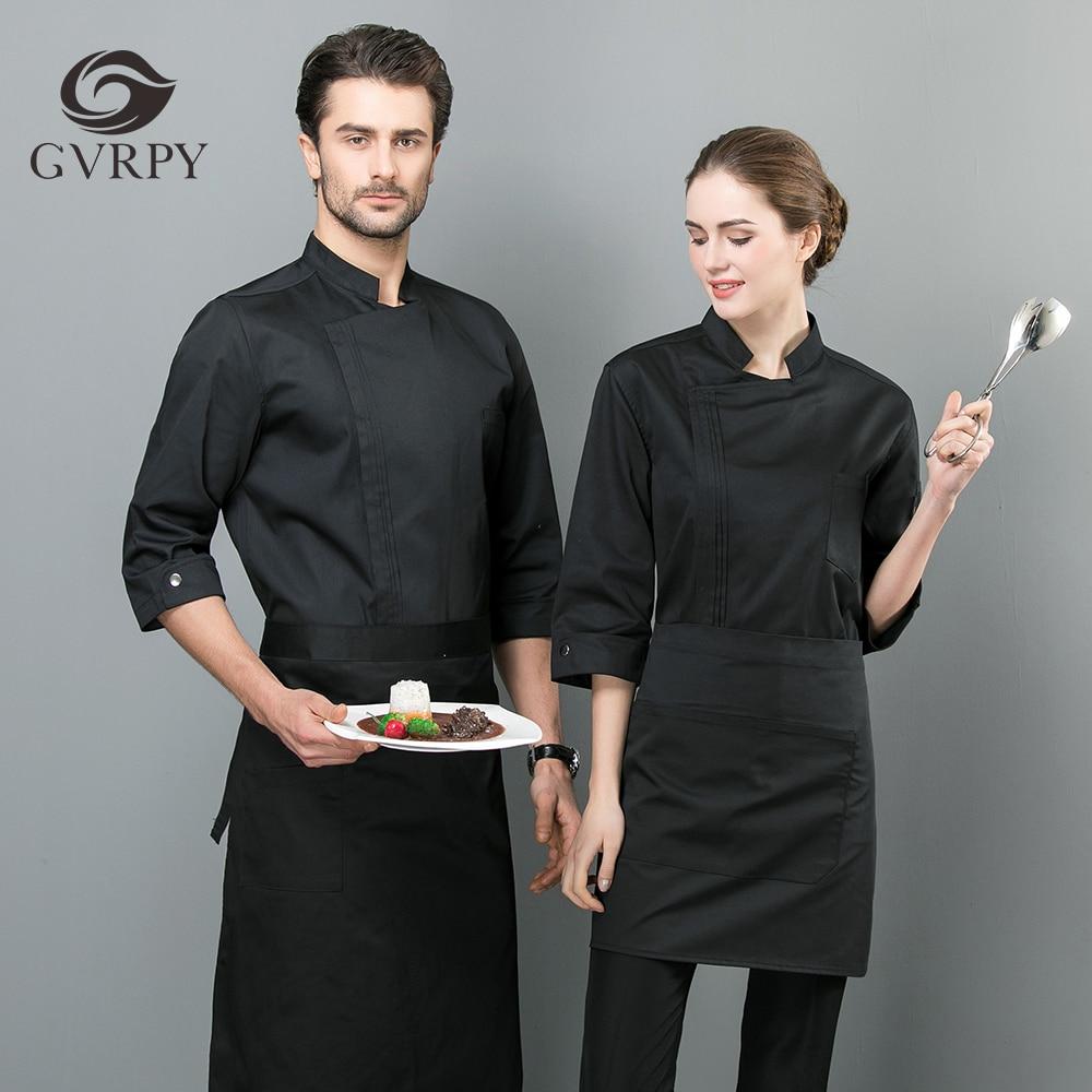 2019 New Listing Summer Unisex Seven-point Sleeve Chef Jacket Overalls Restaurant Kitchen Hotel Professional Chef Coat Uniform