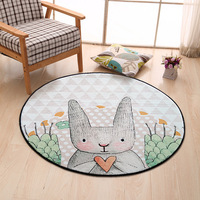 Cute 100CM Rabbit Round Carpets For Living Room Bedroom Rugs And Carpets Cloakroom Mat Computer Chair Area Rug Kids Play Mat