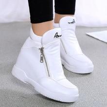 Women Sneakers 2018 Hidden Increasing Women Shoes Fashion Zipper Casual Shoes High-top Leather Shoes Wedge Platform Shoes