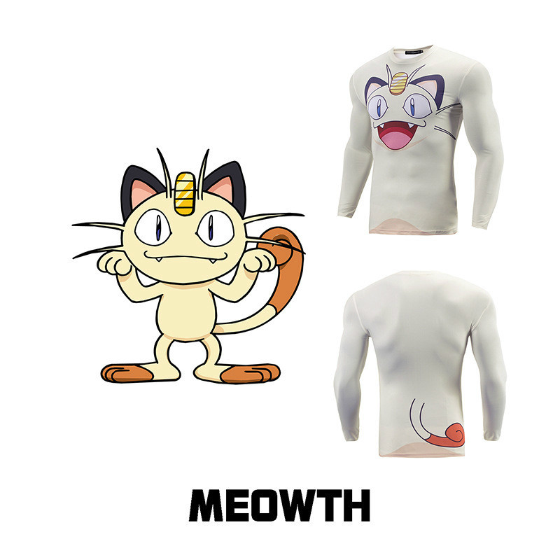 Mens Meowth men T-Shirt White Pokemon Cartoon Character anime tee Shirt homme Guys Go Poke Mon New slim fit 3d printed t-shirts