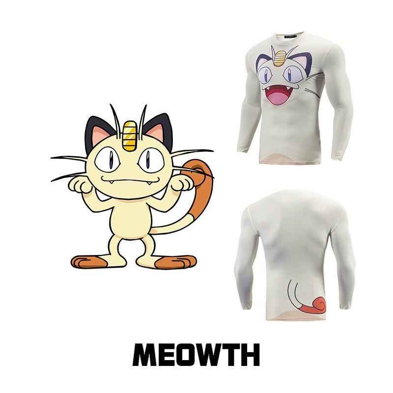 メンズニャース男性tシャツホワイトポケモン漫画のキャラクターアニメtシャツオムみんな行く突く月新しいスリムフィット3dプリントtシャツ