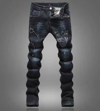 Новый Тигр Печати Тонкие Джинсы Мода Черный Длинные Брюки