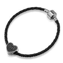 Black Heart Shape Beads fit Pandora Original Bracelet Big Hole Vintage Heart