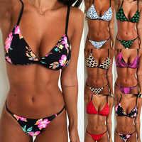 Hirigin dibujos animados Pritned Sexy Bikini Set mujeres traje de baño 2019 nuevo Push Up acolchado Biquini traje de baño mujeres traje de baño