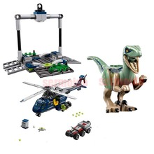 Compatible with Legoings 75928 Jurassic World Dinosaur Park Velociraptor Blue Helicopter Pursuit Building Blocks Toys