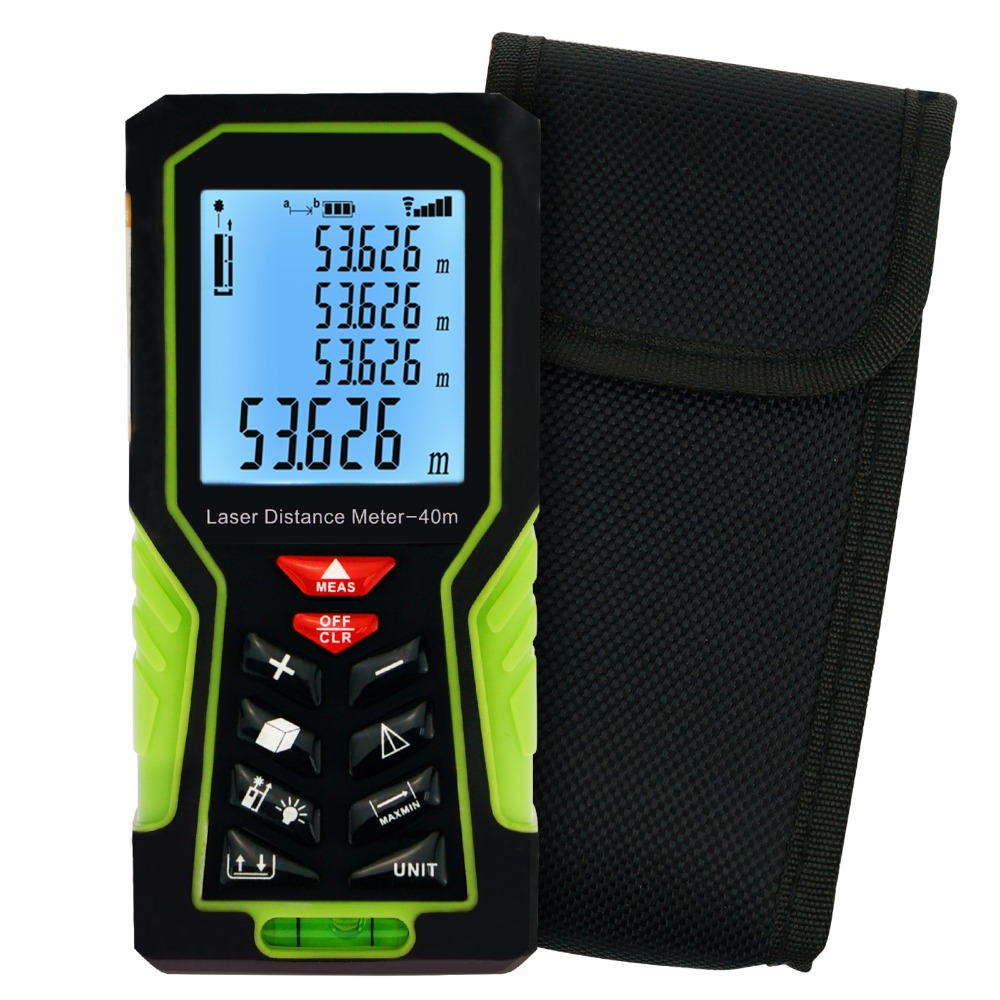 40m (131ft) Digital Laser Distance Meter with Backlight and Spirit Bubble Level Range Finder Area & Volume Measuring Tools Meter цена