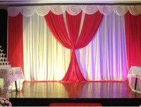 Al por mayor y al por menor 3x6 m blanco y caliente cortina telón de fondo rojo de la boda con el swag cortinas de la boda, etapa de la boda telón de fondo