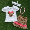 En stock las muchachas minnie equipos del bebé niñas trajes de verano de manga corta para las niñas boutique con accesorios a juego