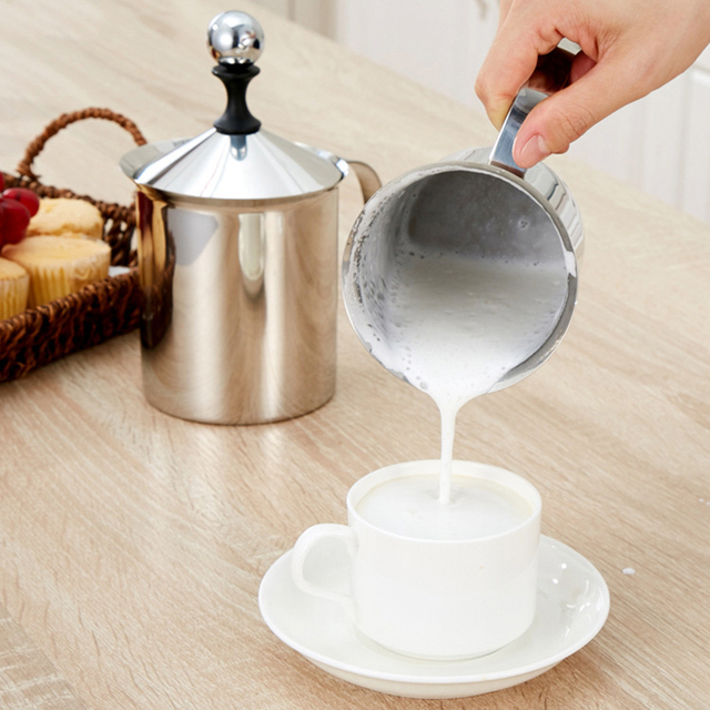 Stainless Steel 400ML 800ML Manual Milk Frother,Handheld Milk Frothing Pitchers,Manual Operated Milk Foam Maker For Coffee Latte 2