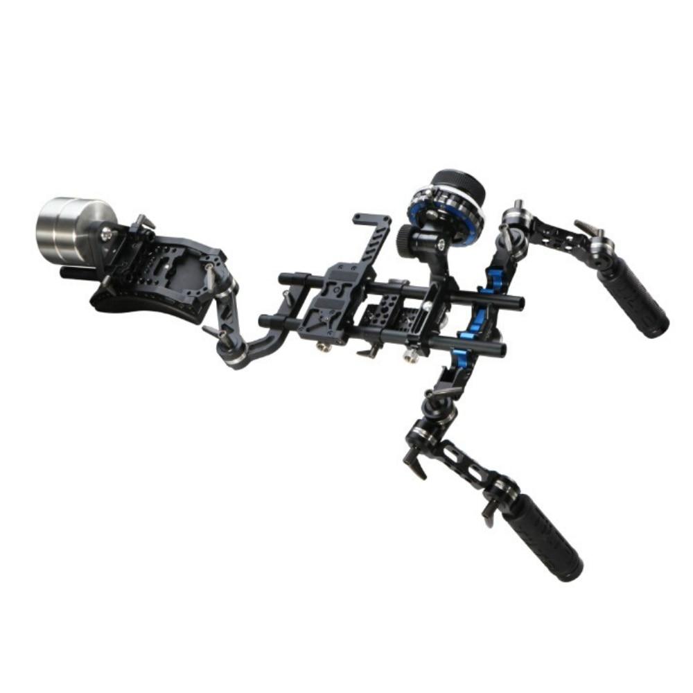 Sistema de 15mm HDSLR Follow Focus Rig TILTA Offset Shoulder Rig w/2 kg Contra Peso Frente handgrip para canon DSLR HDV