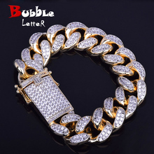 20mm Mens Chunky Iced Zircon Miami Cuban Link Bracelet Bling Hip Hop Rock  Jewelry Gold Color